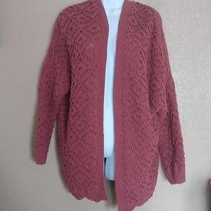 Pol Chunky Crochet oversized sweater M Dark Mauve